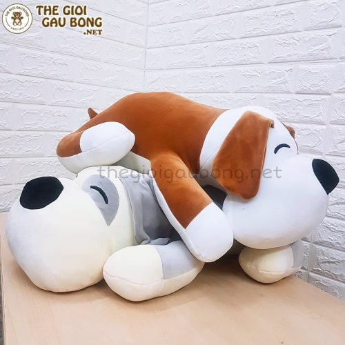 gấu bông chó híp có 2 màu xám và nâu 70cm