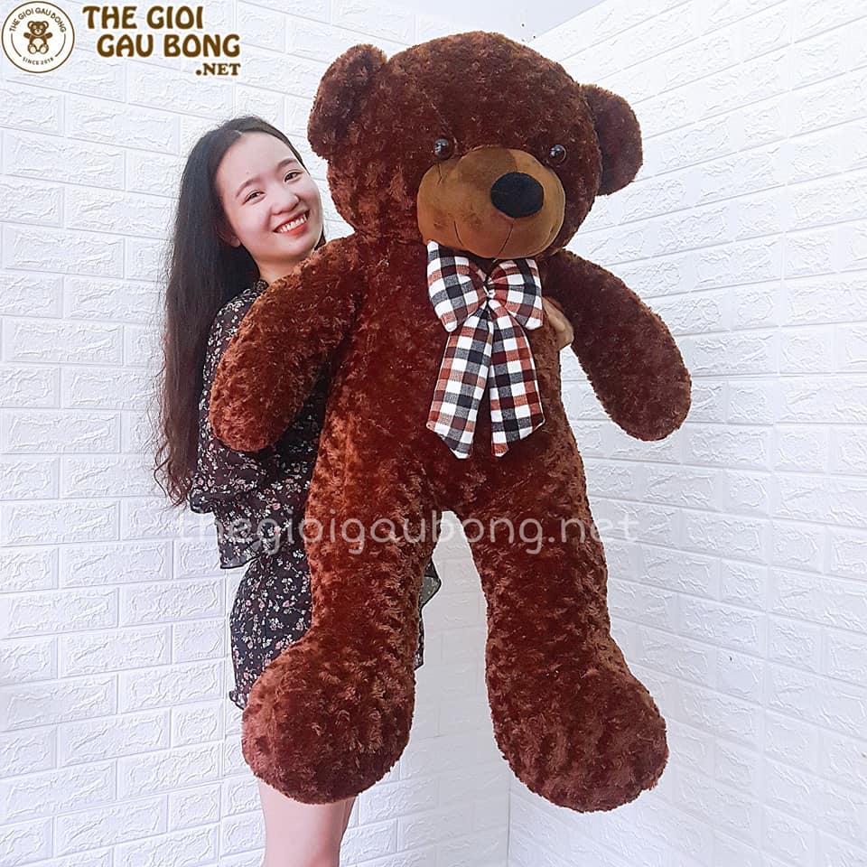 Gấu Bông Teddy To 1m3 Nơ Kẻ Nâu Socola Thế Giới Gấu Bông