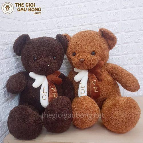 Gấu bông teddy có 2 màu nâu vàng và nâu socola