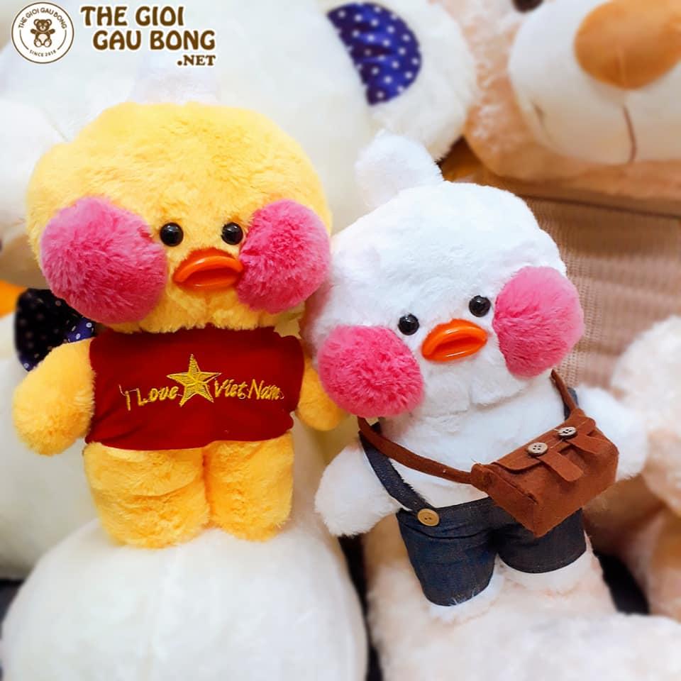 Gấu bông vịt lalafanfan có 2 màu vàng và trắng