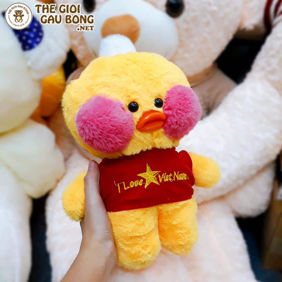 vịt bông 30cm màu vàng áo sao đỏ
