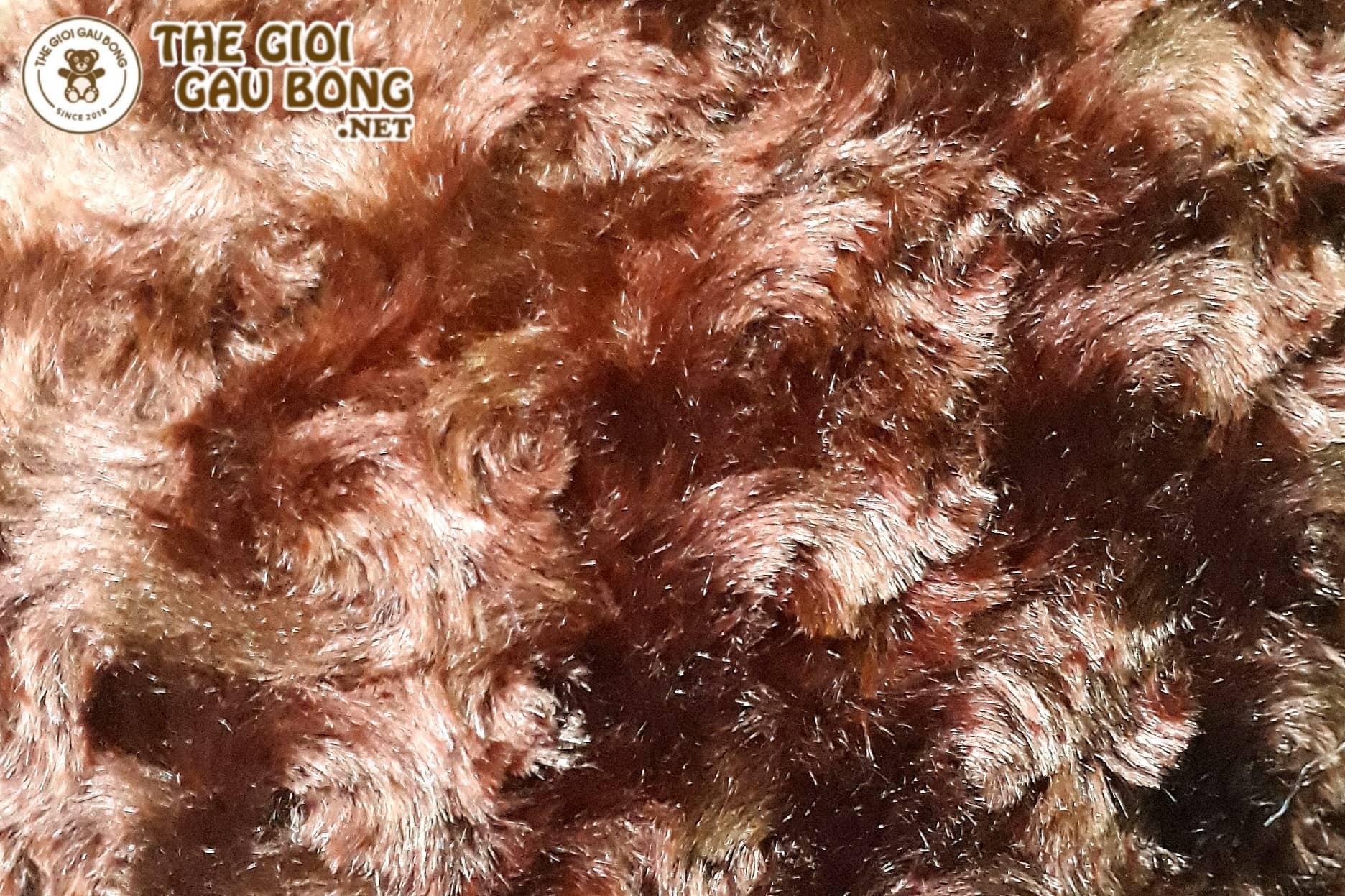 Xưởng Hà Nội may gấu bằng lông xoắn hoa hồng màu nâu socola